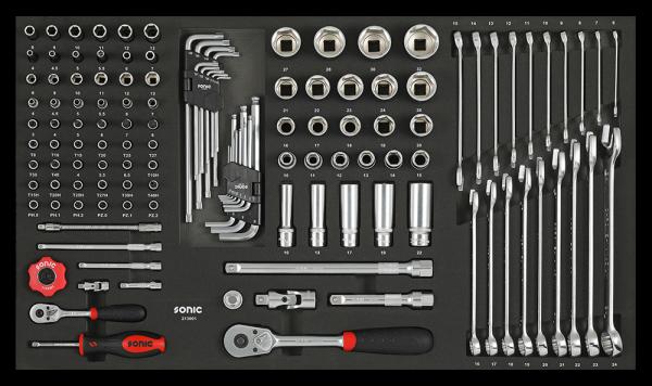 Sonic Equipment SFS 1/4, 1/2 Nuss u. Schlüsselsatz, 130-tlg. 213001