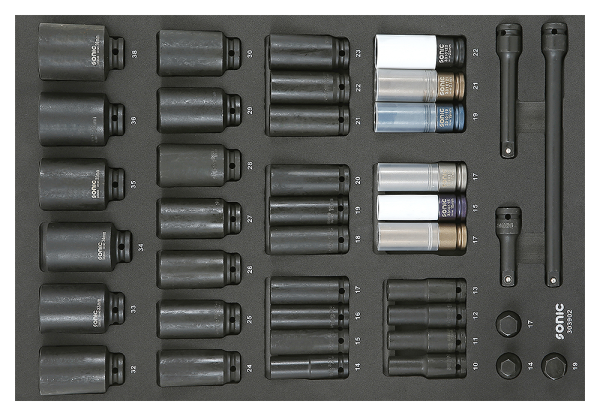 Sonic Equipment SFS 1/2 Schlagschraub-Nuss-Satz, 6-kant 39-tlg. 303902