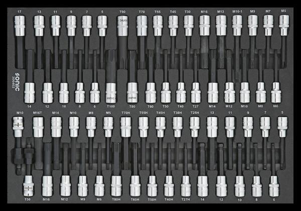 Sonic Equipment SFS 1/2 Innensechskant-, Vielzahn- u. Ribe-Bitsatz 64-tlg. 306402