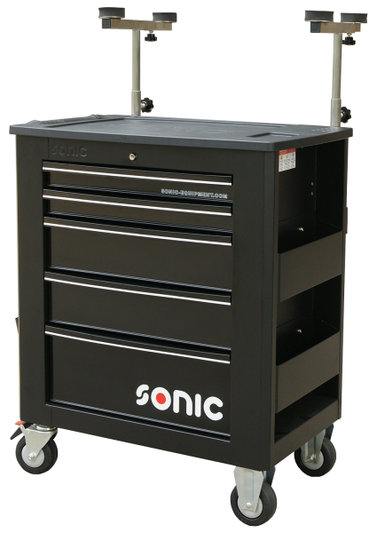 Sonic Equipment Werkstattwagen leer, für Glas, 5 Schubladen, schwarz