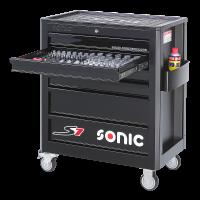 Sonic Equipment Werkstattwagen S7 gefüllt, 94-tlg., schwarz 709440