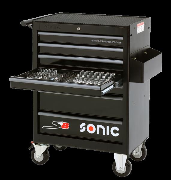 Sonic Equipment Werkstattwagen S8 gefüllt, 158-tlg., schwarz 715806