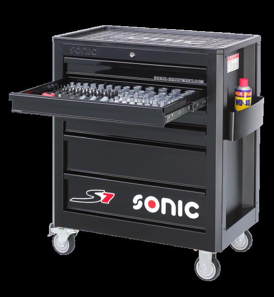 Sonic Equipment Werkstattwagen S7 gefüllt, 158-tlg., schwarz 715840