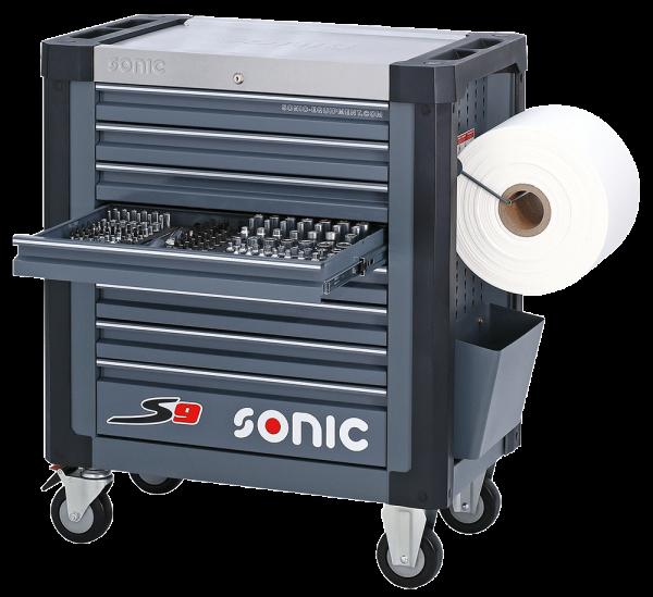 Sonic Equipment Werkstattwagen S9 gefüllt, 169-tlg.,SAE, dunkelgrau 716931