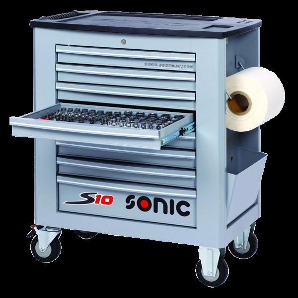 Sonic Equipment Werkstattwagen S10 gefüllt, 171-tlg.,SAE, grau 717119
