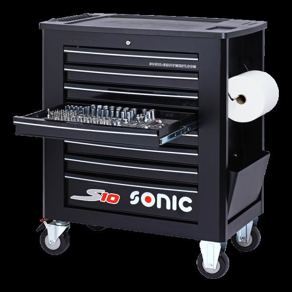 Sonic Equipment Werkstattwagen S10 gefüllt, 173-tlg., schwarz 717309
