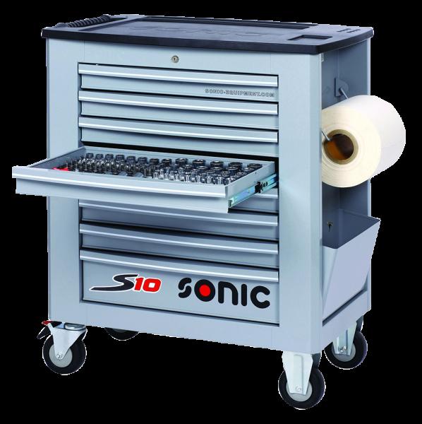 Sonic Equipment Werkstattwagen S10 gefüllt, 173-tlg., grau 717319