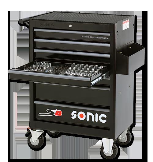 Sonic Equipment Werkstattwagen S8 gefüllt, 206-tlg., schwarz 720606