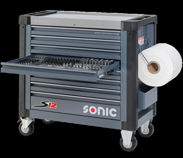 Sonic Equipment Werkstattwagen S12 gefüllt, 263-tlg., dunkelgrau 726329
