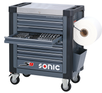 Sonic Equipment Werkstattwagen S9 gefüllt, 274-tlg., grau 727431