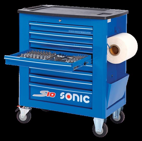 Sonic Equipment Werkstattwagen S10 Blau gefüllt, 279-tlg., SAE 727916