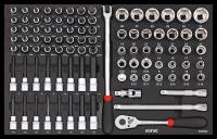 Sonic Equipment Werkstattwagen S8 gefüllt, 344-tlg., schwarz 734406