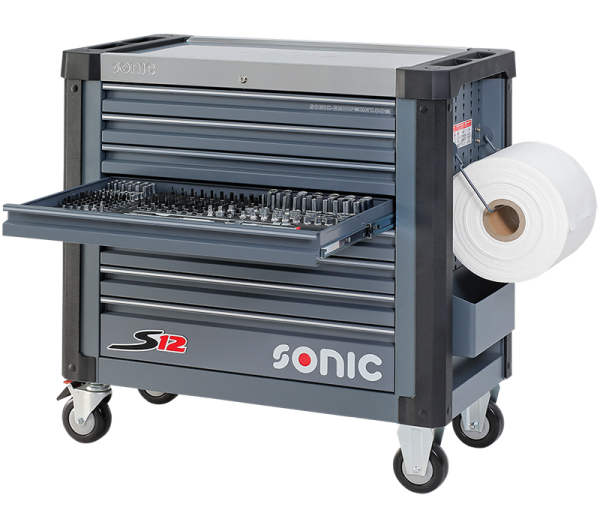 Sonic Equipment Werkstattwagen S12 gefüllt, 345-tlg., dunkelgrau 734529