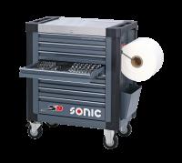 Sonic Equipment Werkstattwagen S9 gefüllt, 355-tlg., SAE, dunkelgrau 735231