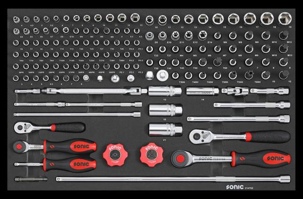 Sonic Equipment Werkstattwagen S10 gefüllt, 354-tlg., schwarz 735409