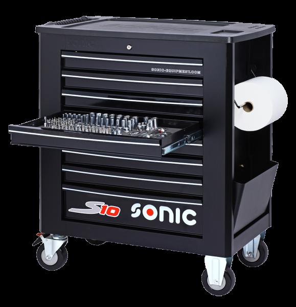 Sonic Equipment Werkstattwagen S10 gefüllt, 357-tlg., SAE, schwarz 735709
