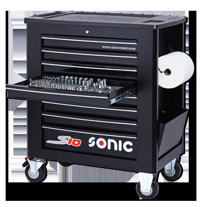 Sonic Equipment Werkstattwagen S10 gefüllt, 391-tlg., schwarz 739009
