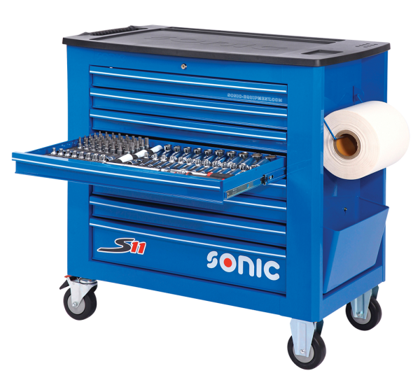 Sonic Equipment Werkstattwagen S11 gefüllt, 469-tlg., blau 746918