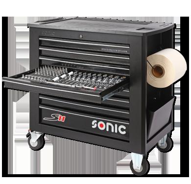 Sonic Equipment Werkstattwagen S11 gefüllt, 485-tlg., schwarz 748512