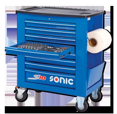 Sonic Equipment Werkstattwagen S10 gefüllt, 527-tlg., Schaum 1/3, blau 752716