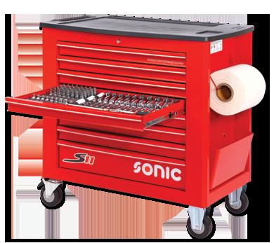 Sonic Equipment Werkstattwagen S11 gefüllt, 533-tlg., rot 753317