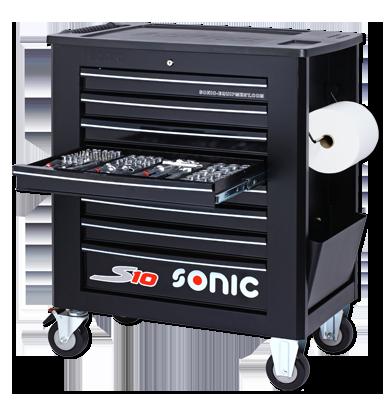 Sonic Equipment Werkstattwagen S10 gefüllt, 539-tlg., Schaum 1/3, schwarz 753909