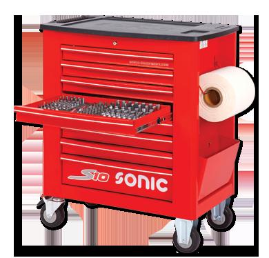 Sonic Equipment Werkstattwagen S10 gefüllt, 539-tlg., Schaum 1/3, rot 753915