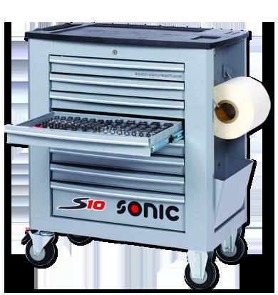 Sonic Equipment Werkstattwagen S10 gefüllt, 539-tlg., Schaum 1/3, grau 753919