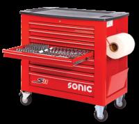 Sonic Equipment Werkstattwagen S11 gefüllt, 644-tlg., rot 764417