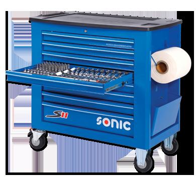 Sonic Equipment Werkstattwagen S11 gefüllt, 644-tlg., blau 764418